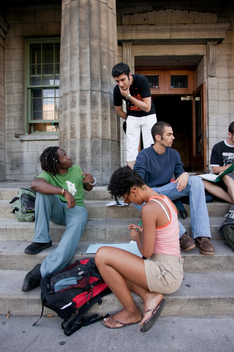 McGill University Students congregate in between classes on the Montreal campus  during summer session. (Shot for US News & World Report Best Colleges Guide)
