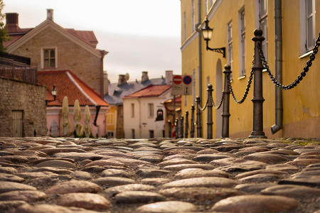 Cobblestone streets add to the old-world feeling in Tallinn, Estonia's Old Town district.