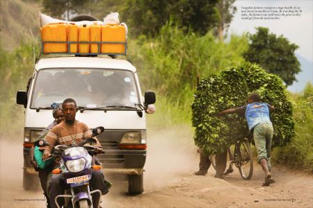"""Dispatches from the Field"" pages 8 and 9. Photography, text and design for Great Lakes Cassava Initiative."
