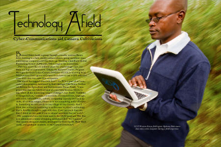 """Dispatches from the Field"" pages 12 and 13. Photography, text and design for Great Lakes Cassava Initiative."