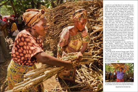 """Dispatches from the Field"" pages 28 and 29. Photography, text and design for Great Lakes Cassava Initiative."