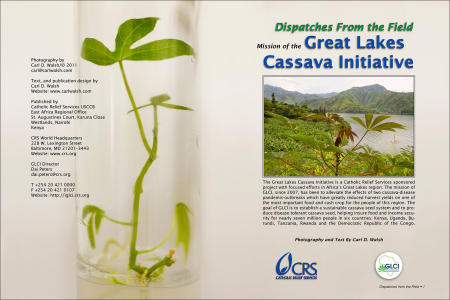 """Dispatches from the Field"" Opening Spread. Photography, text and design for Great Lakes Cassava Initiative."