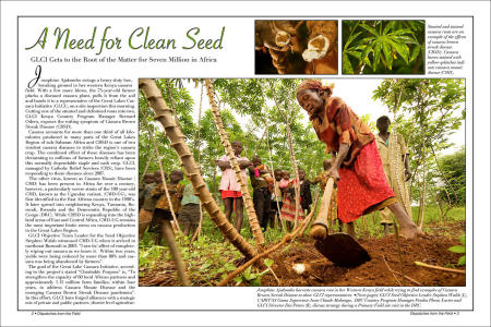 """Dispatches from the Field"" pages 2 and 3. Photography, text and design for Great Lakes Cassava Initiative."