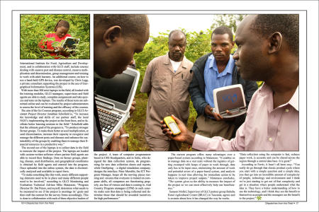 """Dispatches from the Field"" pages 16 and 17. Photography, text and design for Great Lakes Cassava Initiative."