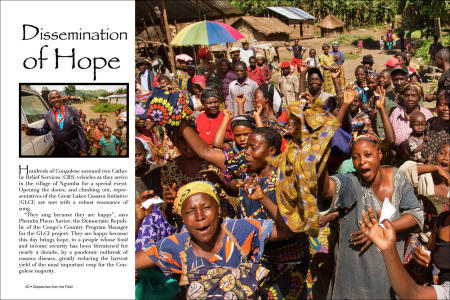 """Dispatches from the Field"" pages 20 and 21. Photography, text and design for Great Lakes Cassava Initiative."