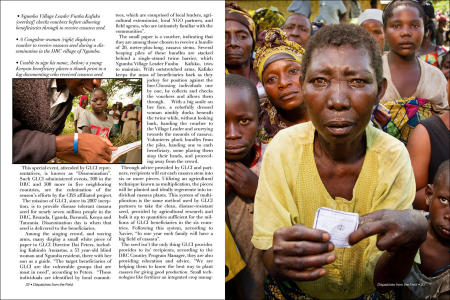 """Dispatches from the Field"" pages 22 and 23. Photography, text and design for Great Lakes Cassava Initiative."
