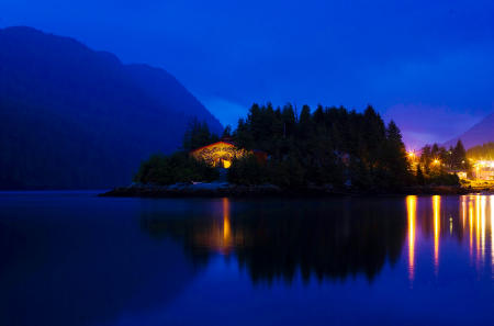 The Big House is prominent on the point of Swindle Island in the coastal fjords of British Columbia, Canada.