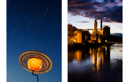 A scale model of Saturn and the Great Northern Paper mill are set against northern Maine skies. Shot respectively for Smithsonian and US News & World Report magazines.