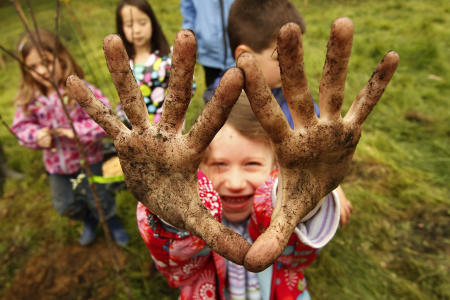 A student from the William H. Rowe School in Yarmouth shows off her dirty hands after planting an apple tree during Arbor Day activities at the Spear Farm Estuary Preserve in Yarmouth. Maine.