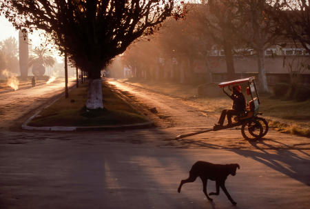 "A rickshaw operator, known as ""Pousse-pousse"" in Madagascar, waits for customers at sunrise in Antsirabe, Madagascar."