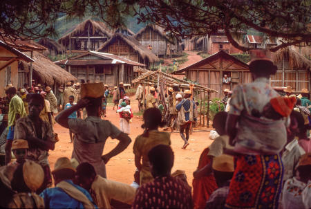 "Tanala tribe members attend the ""Talata"", the Tuesday market in the Madagascar Southeast Rainforest village of Ambohemiera. Markets travel daily around the country and are named after the day."