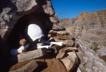 A skeleton is exposed in an open cliffside tomb in Madagascar's Isalo National Park in the southwest.